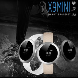 Rate Touch Screen Watches NZ - Wholesale- Touch Screen X9 mini Smartband Round Bracelet IP67 Waterproof Watch Activity Band Fitness Tracker Pedomoter Heart Rate Monitor