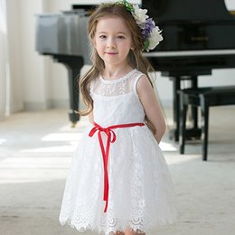 Robe Brodée En Dentelle Blanche Pas Cher-Everweekend Girls Princess Lace Robe de soirée brodée Ruffles Summer Rouge et Blanc Western Fashion Holiday Robes