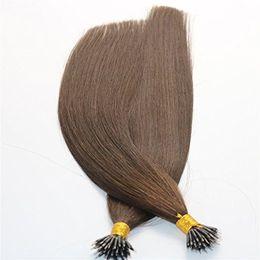 China 1g str 100g Keratin Human Hair Extensions with Nano Rings #4 Brown color Nano Ring Loop Remy Hair Extensions suppliers