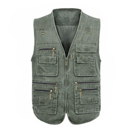 pockets photography vest Australia - Wholesale- Free Shipping 2016 New Men's Large Size 5XL Jacket Denim Vest Casual Multi-pocket High Quality Waistcoat photography Plus size