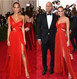 e30ae67fbe4 Hannah Davis Celebrity Evening Dresses In 2017 Met Gala One Shoulder Side  Slit Chiffon Long Prom Red Carpet Dresses Gowns Custom Made