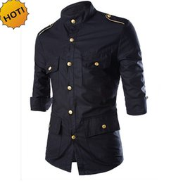 dress epaulets Australia - New2017 Fashion Autumn Tuxedo Shirts Gold Button Solid Epaulet three Quarter Sleeve Black Slim Fit Multi-Pocket Dress Shirt