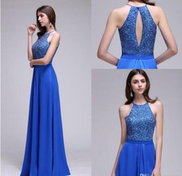 simple occasion dresses 2019 - Royal Blue Lace Designer's Sexy Prom Dresses Sleeveless A Line Keyhole Back Long 2017 Evening Gowns Long Women Part
