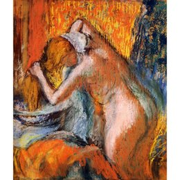 China Ballet dancers Edgar Degas After the Bath, Woman Drying Her Hair hand-painted oil painting high quality cheap bath paintings suppliers