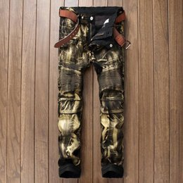 Wholesale-Brand Designer Mens Biker Jean Trousers Hi-Street Slim Fit Painted Denim Joggers Male Straight Pleated Moto Jeans Pants Q2570/ на Распродаже