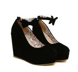 Cute Wedding Shoes Canada - 2013 Cute 2 suede purple wedges black wedges women's ankle strap high plarform wedges heel shoes