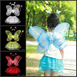 Barato Varinha Mágica De Cabeça De Borboleta-4 Pieces Children Halloween Costume Set Double Layer Angle Butterfly Fairy Wings Magic Wand Headband Birthday Party Gifts