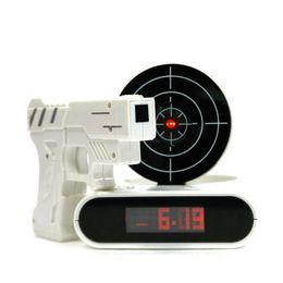 new style novelty gun alarm clock lcd laser gun shooting target wake up alarm desk clock gadget fun electronic toy - Desk Clocks