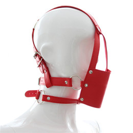 Soft Red Ball Gag UK - Snazzy Black Leather Mask Flail Ball Gag Head Harness Mouth Soft Breathable Solid Mouth Gag Bondage Belt Trainer Mask Red Sex Toys