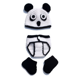 crochet baby sets animals Australia - Cute Newborn Panda Costume,Handmade Knit Crochet Baby Boy Girl Animal Hat,Booties and Diaper Cover Set,Infant Toddler Halloween Photo Prop