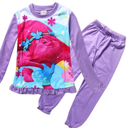 89ddb04177 New Trolls Girls Pajama Sets Spring Autumn Cartoon Cotton Clothing Set For  Girls Long Sleeve Shirt Pants 2 Pieces Kids Clothing