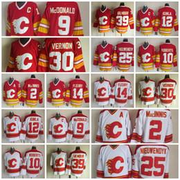 China Calgary Flames Hockey Jersey 25 Joe Nieuwendyk 9 Lanny McDonald 2 Al Macinnis 10 Gary Roberts 30 Mike Vernon 14 Theoren Fleury Doug Gilmour supplier al macinnis suppliers