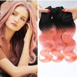 Discount rose human hair - Pink Weave Bundles Two Tone Malaysian Weave Hair 3Pcs 1B Rose Gold Human Hair Extensions Ombre Body Wave Hair 300g