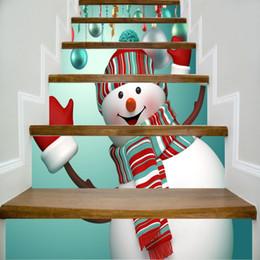 Snowman Stickers NZ - 6pcs set 18cm x 100cm Cute Snowman Raised Hands Pattern 3D Stair Sticker Wall Decor LTT089
