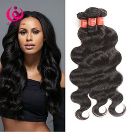 Virgin Hair Extensions Brand Canada - Brazilian Body Wave Hair Weave 4Bundles Double Weft Wow Queen Brand Cheap Wholesale Price Unprocessed Brazilian Virgin Human Hair Extensions