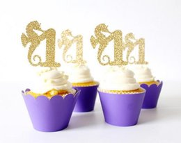 $enCountryForm.capitalKeyWord Australia - custom number glitter seahorse cupcake toppers under the sea beach wedding Birthday Party decorations Supplies toothpicks
