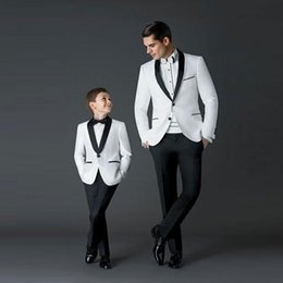 three piece suit white slim Canada - Handsome White Wedding Tuxedos Slim Fit Suits For Men Jacket And Pants Groomsmen Suit Two Pieces Cheap Prom Formal Suits With Bow Tie