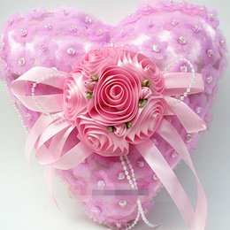 Pink Pearl Favors Canada - Wedding Ring Pillow favors red pink white purple color with pearl flower Decorations Fascinator Favor new arrival hot
