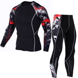 China Cool 2017 Sportswear Sets Men Compression Sets T Shirts Wolf Print Lycra Crossfit Joggers Base Layer Tight Tops Leggings Brand Clothing supplier sportswear lycra running suppliers