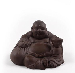 Wholesale clay buddha for sale - Group buy purple clay big belly Maitreya Buddha Chinese oolong tea pets kongfu tea accessories factory outlet T68