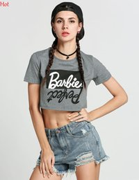 Barato Estilo Curto Preto Das Camisas-Hot Summer Style T Shirt Mulheres Vestuário Letters Printed Casual Short Sleeve Feme T-shirts Ladies Crop Top Sexy O-Neck TShirt preto SV030415