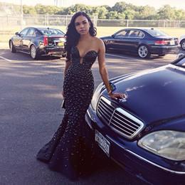 $enCountryForm.capitalKeyWord Canada - Sexy Long Black Prom Dresses Mermaid Sweetheart Major Beading Crystal Formal Party Dress Evening Wear Black Girl Blackless Prom Gowns Cheap