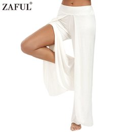 Barato Grande Perna Palazzo Calças Atacado-Atacado- ZAFUL Plus Size Mulher Calças Summer Cotton Wide Leg Pant Alta Split Palazzo Calças Long Denim Lady Calças Calças Feminino Pantalon