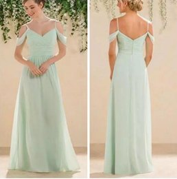 $enCountryForm.capitalKeyWord Canada - Mint Green Bridesmaid Dresses Long Floor Length Spaghetti Straps Chiffon Cheap Maid of Honor Wedding Party Gowns
