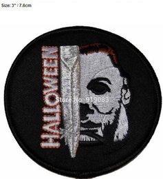 "Embroidered Name Patches Australia - 3"" Halloween Movie Michael Myers Face and Knife Name Patch TV Movie Film Series Applique Costume Embroidered iron on Cosplay party favor"