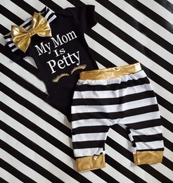 $enCountryForm.capitalKeyWord NZ - summer stripe golden headband 3piece outfits infant baby short sleeve letter print romper with matching long pants headband clothes suits