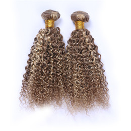 brown blonde deep curly weave Canada - New Product Mix Piano Color Hair Bundles 3Pcs Midium Brown And Blonde Two Color Hair Weft #8 #613 Deep Curly Hair Extensions