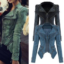 Vestes Femme En Denim Pas Cher-Vente en gros - Original Sharp Power Punk Studded Shoulder Rivets Manche à encolure en Lapin Denim Jeans Tuxedo Coat Jacket Outerwear Plus