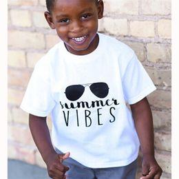 $enCountryForm.capitalKeyWord NZ - Kids sunglasses letters printing short sleeve white T shirt 5 sizes children summer vibes letters printing summer clothing for 1-6T