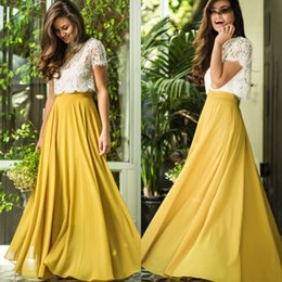 Barato Barato Andar Comprimento Vestidos-2017 Cheap Prom Dresses Romantic Lace Illusion Neckline Manga Curta Andar Comprimento Chiffon Party Prom Dress Vestido Formal Barato