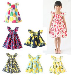 Barato Limão Vestido Backless-Ins Girls Backless Cherry Dress Kids Algodão sem mangas Floral Beach Dresses Crianças Lemon Vintage Flower Dress