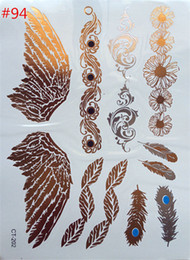 Wholesale temporary tattoo fashion product foil waterproof angel wings tattoo tattoo stickers paste gold bracelet