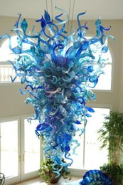 Blue modern Blown glass chandelier online shopping - Hot Sale Blue Glass Large Chandelier Light Artistic Decoration Chihuly Style Mount Blown Borosilicate Glass Modern Chandelier Light