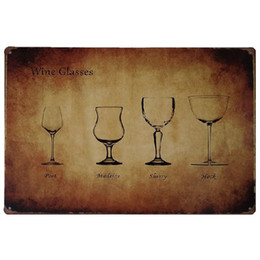 rustic wall decor Australia - Wine Glasses Port Madein Sherry Hock Retro rustic tin metal sign Wall Decor Vintage Tin Poster Cafe Shop Bar home decor