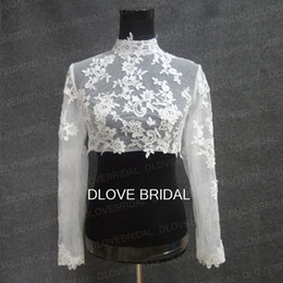 Barato Boleros Longos Da Luva Botons-Real Photo High Neck Long Sleeve Casaco de noiva Lace Appliqued Tulle Wedding Party Dress Sheer Wraps Bolero com botões cobertos Custom Make