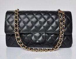 Silver Caviar Australia - 2019 Top Quality Double Flap Bag Black Genuine Caviar Leather Quilted Chain Bag With Gold Silver Hardware Women Messenger Bag