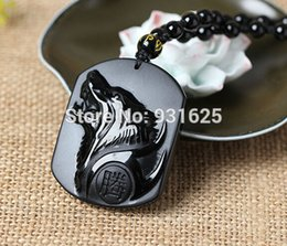natural stone amulets 2019 - Wholesale- Natural Black Obsidian Carving Wolf Head Amulet pendant free necklace obsidian Blessing Lucky pendants fashio