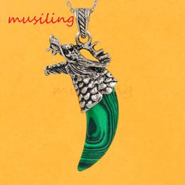 Amethyst Pendulum Pendant Australia - Natural Gem Stone Pendant Amethyst Malachite etc Vintage Dragon's Head Tooth-shape Reiki Pendulum Charms Healing Chakra Amulet Mix Order