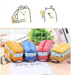 toy school buses 2019 - 50pcs Children Pencil Case Cartoon Bus Car Stationery Bag Cute Animals Canvas Pencil Bags For Boys Girls School Supplies