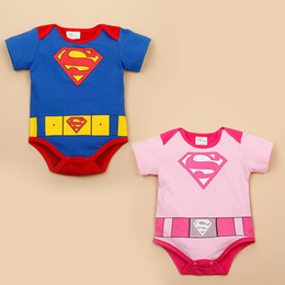 Barato Superman Rompers Baby Boy-Summer Baby Cartoon Rompers 2017 Infants Boy Girl Superman Onesies Algodão Casual Kids Outfits Moda Rosa Azul Roupa infantil