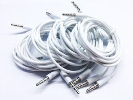 cable ipad  al por mayor-1M mm Macho a Macho Jack de Audio Estéreo AUX Cable Auxiliar para iphone s para iPad MUSIC PLAYER CAR Blanco