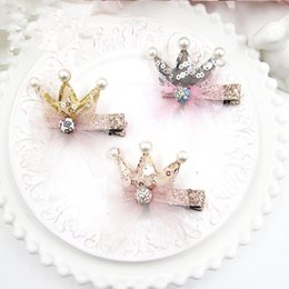 baby sequin hair clips wholesale Canada - Boutique 15pcs Fashion Cute Glitter Sequin Crown with Lace Girls Hair Clips Solid Princess Tiara Baby Girls Barrettes
