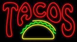 "mexican glasses Canada - Tacos Mexican Food Restaurants Trailers Roadside Stand Neon Sign Custom Handmade Real Glass Custmized Advertising Display Neon Signs 19""X12"""