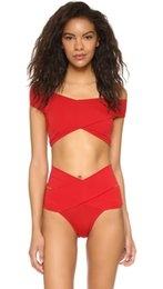 Barato Maiô De Duas Peças Com Cintura Alta-New Two Piece Summer Beach Wear Pure Slash Neck Mulheres Swimsuit Sexy High Waisted Red Bikini Swimsuits para meninas