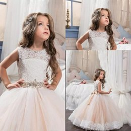 1bcb98279 Little Queen Dress Ivory White Lace Floor Length Flower Girl Dresses  Wedding Party Beaded Waistline Children's Dress Collection 2017