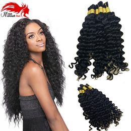 Wholesale Hannah Deep Curly Virign Mongolian Bulk Human Hair For Braiding 100% Unprocessed Human Braiding Hair Bulk No Weft 3bundles 150gram